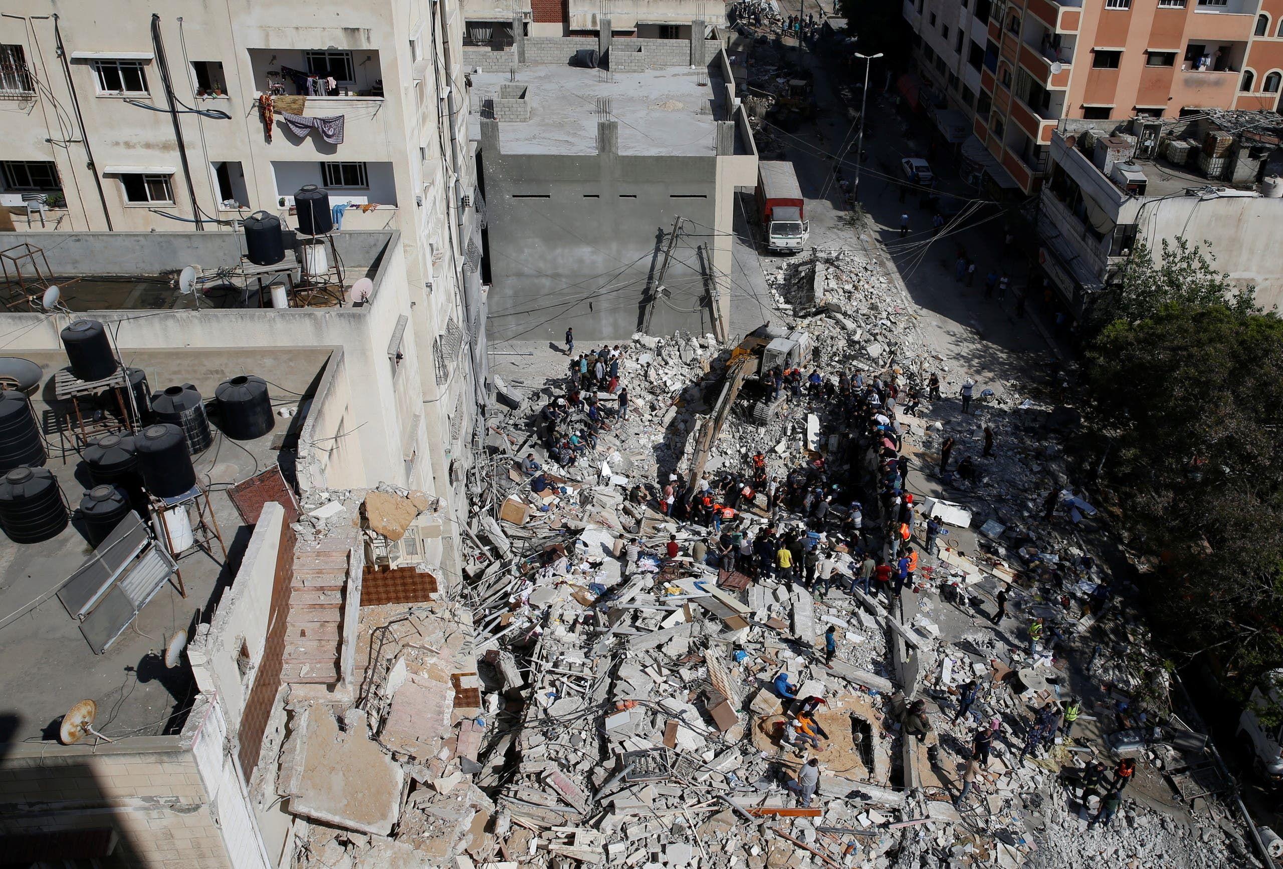 مباني مدمرة بسبب القفص الإسرائيلي في غزة