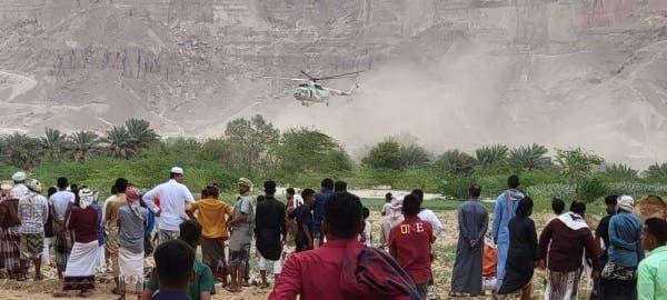 تدخل الطيران المروحي لإجلاء عالقين بمديرية سيئون