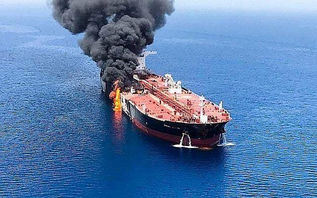 الصورة نقلا عن تايمز أوف إسرائيل للسفينة الإسرائيلية في بحر العرب