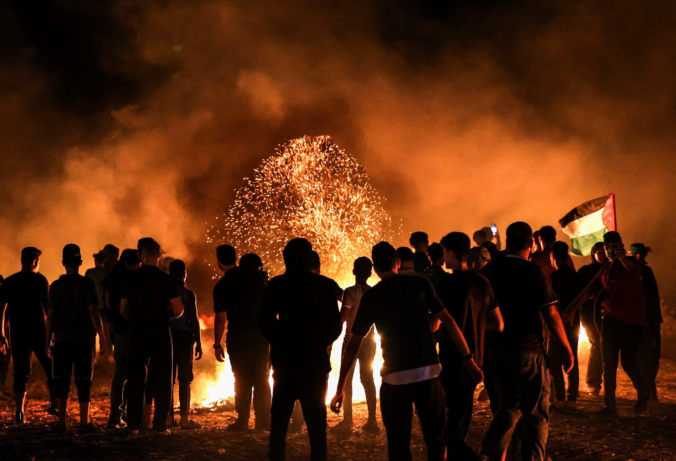 احتجاج فلسطيني في غزة قرب الحدود مع إسرائيل السبت