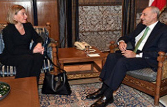 بري استقبل موغريني ونوه بموقف الاتحاد الاوروبي تجاه لبنان