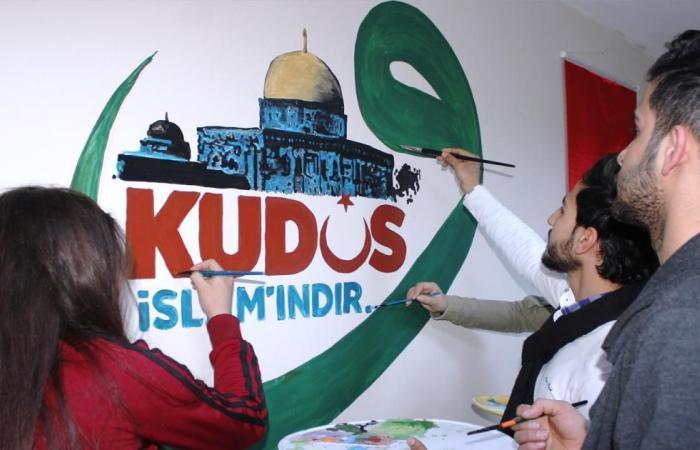 """سوريون يرسمون """"القدس إسلامية"""" رفضا لقرار ترمب"""