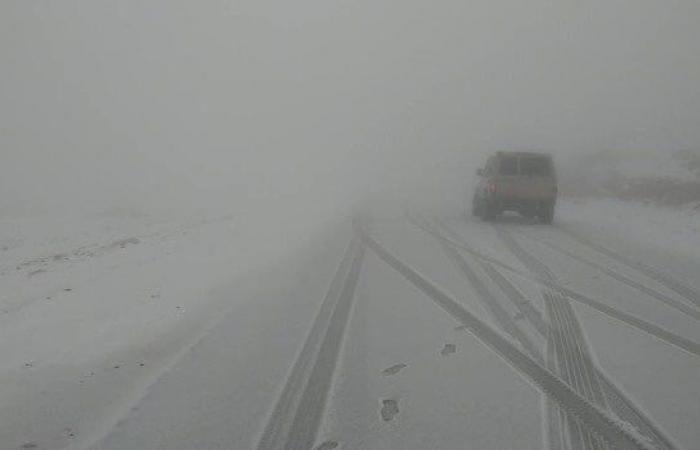 بالصور.. جبل اللوز السعودي يكتسي بغطاء ثلجي أبيض