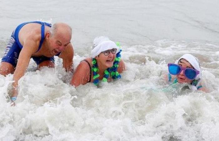 السباحة في البرد القارس احتفالا برأس السنة!
