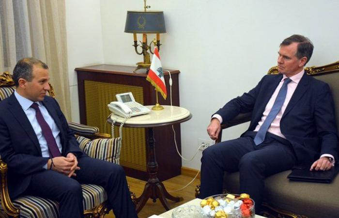 باسيل بحث مع شورتر في المؤتمرات الدولية المقبلة لدعم لبنان