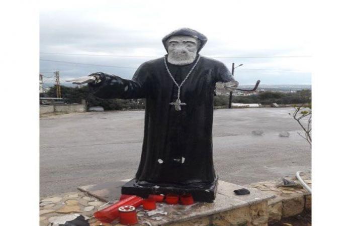 مجهولون يعتدون على تمثال القديس شربل في زغرتا
