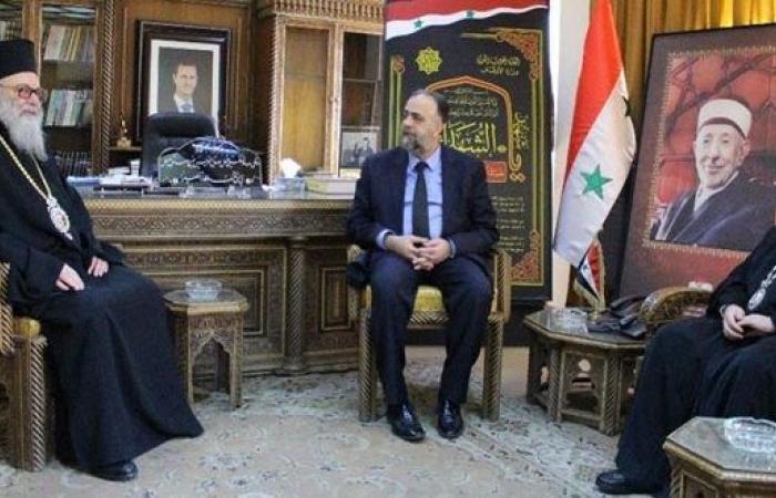 يوحنا العاشر التقى في دمشق وزير الاوقاف السوري
