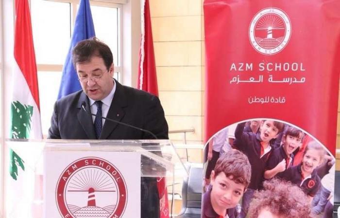 """السفير الفرنسي في لبنان يزور """"مدرسة العزم"""""""