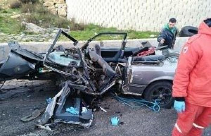 """بالصور: حادث سير مروع على طريق ضهر البيدر.. والضحية """"عسكري"""""""