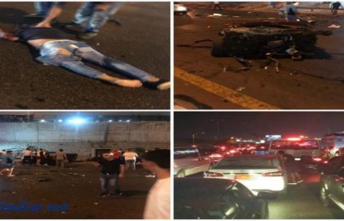 بالصور والفيديو.. قتلى وجرحى في حادث سير مروع على المدينة الرياضية