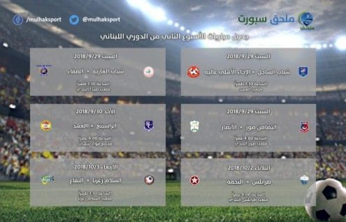 بالصورة: جدول مباريات الأسبوع الثاني من الدوري اللبناني لكرة القدم