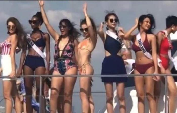 إثارة وجاذبية مطلقة.. مايا رعيدي على متن سفينة بـ'المايو' مع ملكات العالم (فيديو)