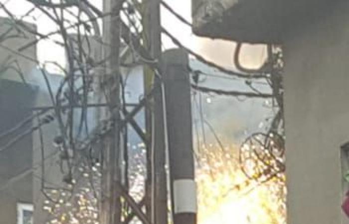 بالصورة: حريق في محول الكهرباء في فنيدق