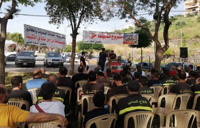 اعتصام لمتطوعي الدفاع المدني في عكار مطالبةً بتثبيتهم