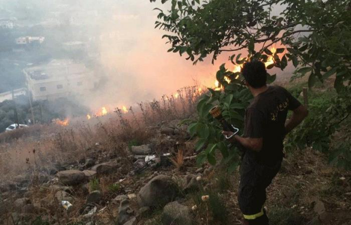 حريق في خراج بلدة القنبر التهم أشجارًا مثمرة