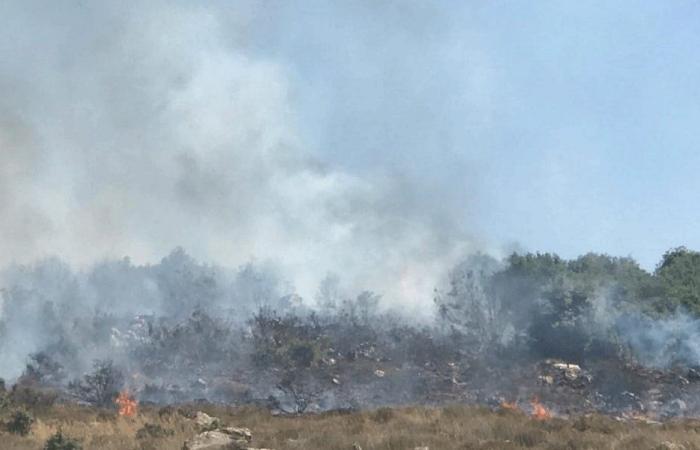 حريق في خراج بلدة رحبة