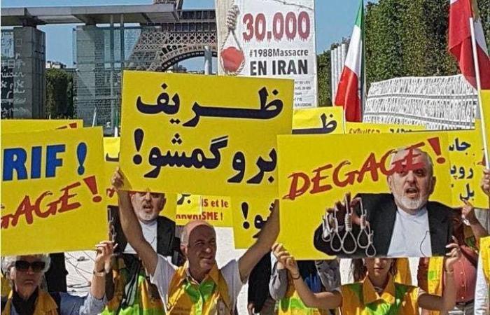 إيران   إيرانيون يتظاهرون في باريس ضد زيارة ظريف