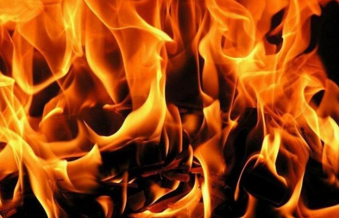 حريق بين بلدتي عدبل وحلبا