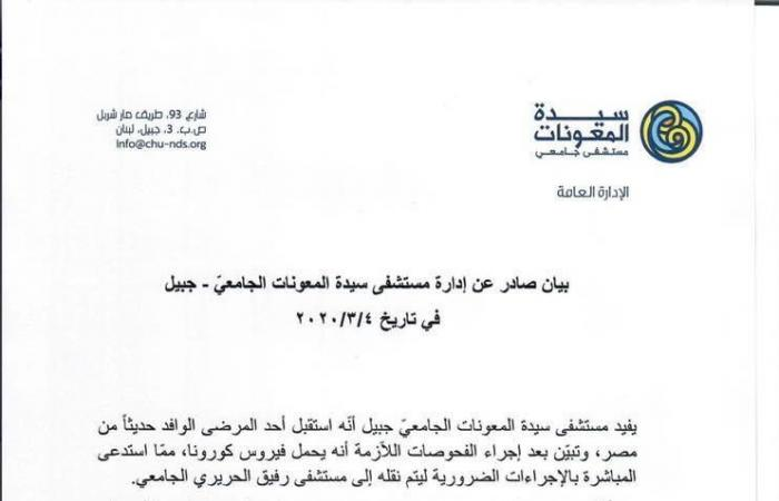 مستشفى المعونات: تسجيل إصابة كورونا آتية من مصر