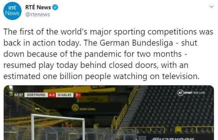 """وكالة أنباء: عودة الدوري الألماني شهدها """"مليار"""" متابع"""