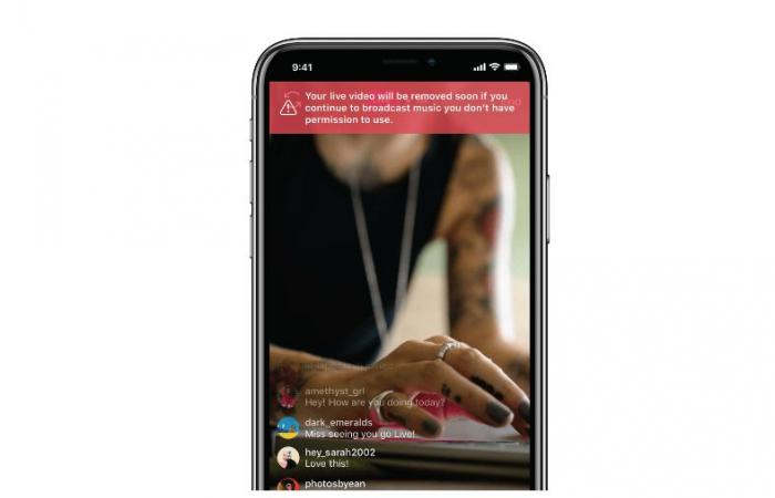 انستجرام ستنبه المستخدمين أثناء البث المباشر في حال استخدموا موسيقى غير مرخصة