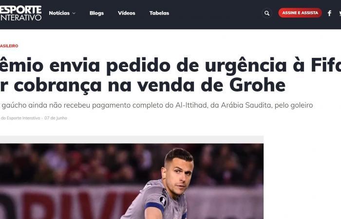 غريميو يطالب اتحاد جدة بسداد مبلغ انتقال غروهي