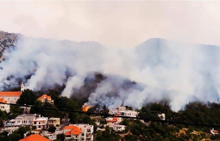 حريق كبير في جاج يمتد الى القرى المجاورة (فيديو)