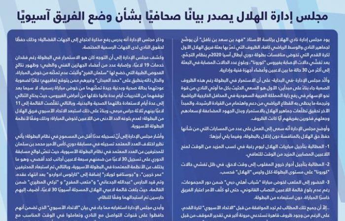 """الهلال: ندرس رفع مذكرة احتجاج.. و""""الآسيوي"""" خالف قانون اللعبة"""