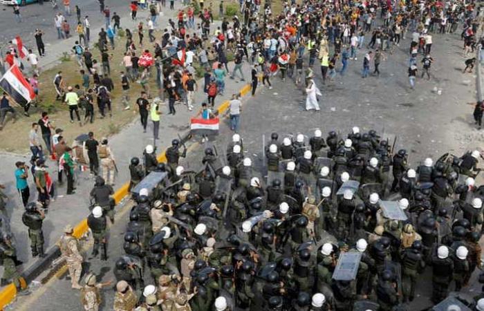 بالفيديو: جرحى إثر اشتباكات بين المتظاهرين والأمن في بغداد