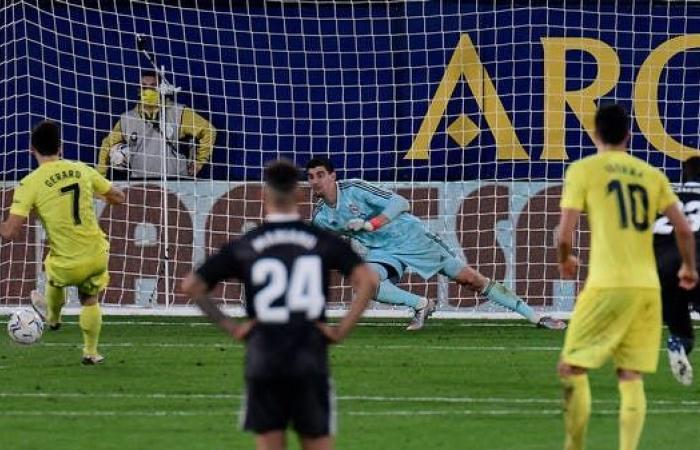 خطأ كورتوا يقود فياريال للتعادل مع ريال مدريد.. ويؤزم موقف زيدان