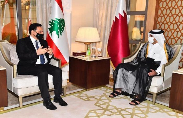 دياب يلبي دعوة رئيس وزراء قطر إلى مأدبة الإفطار