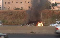 سيارة تحترق في الدامور